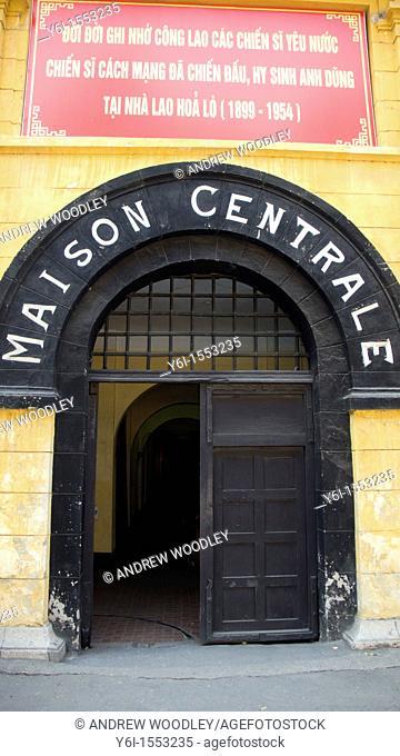 Entrance Hoa Lo Prison museum once known as the Hanoi Hilton Hanoi Vietnam