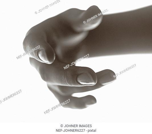A hand against white backgound