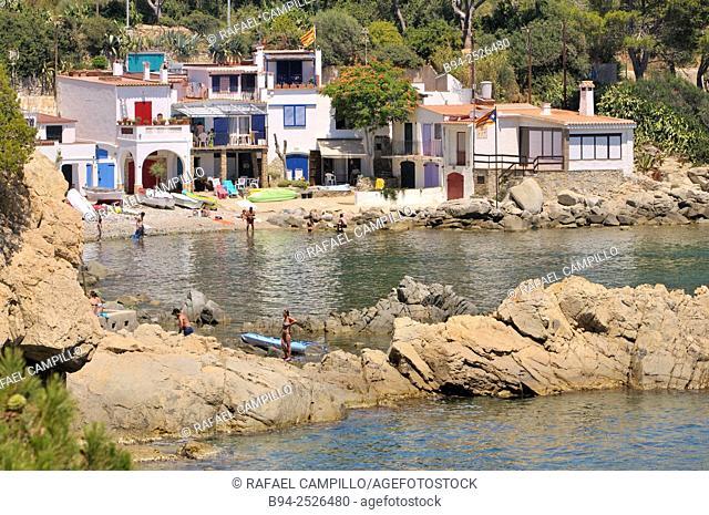Traditional neighborhood of S'Alguer cove between the place of Fosca and Castell beach, near the ancient castle of Sant Esteve de Mar