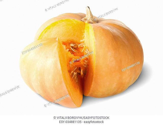 Sliced Pumpkin With Seeds Rotated Isolated On White Background