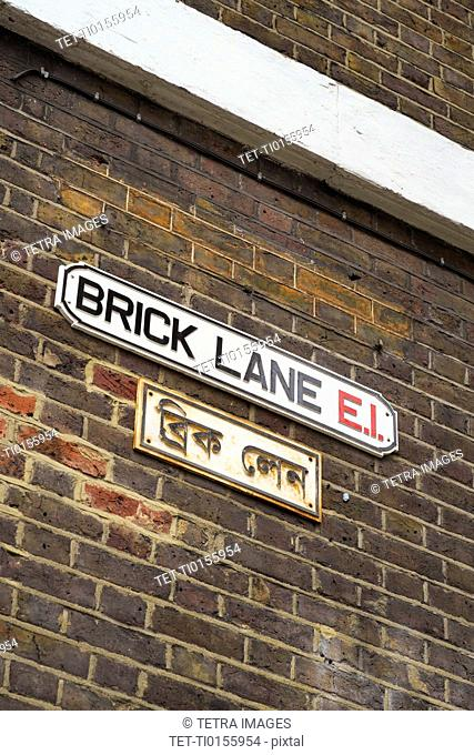 UK, London, Brick Lane sign