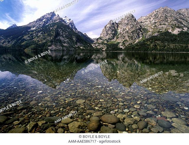 Teewinot Mt., Mt. Owen, Cascade Canyon, Mt. St. John, Jenny Lake. Grand Teton NP, Wyoming clear lake
