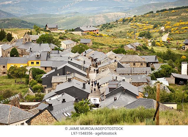 View to the village of El Acebo along the Camino de Santiago, route Frances