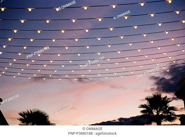 fairy lights at sunset