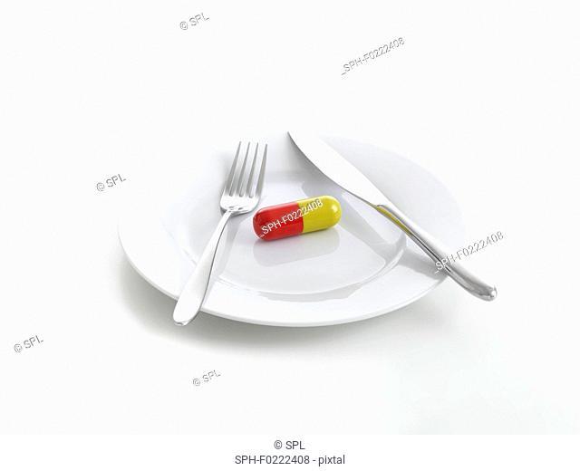 Capsule on dinner plate