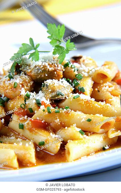 Penne with fish, seafood and grated cheese