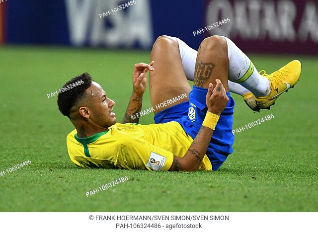 NEYMAR (BRA) after foul on the ground, pain, action, single action, single shot, cut out, full body, whole figure. Brazil (BRA) - Belgium (BEL) 1-2