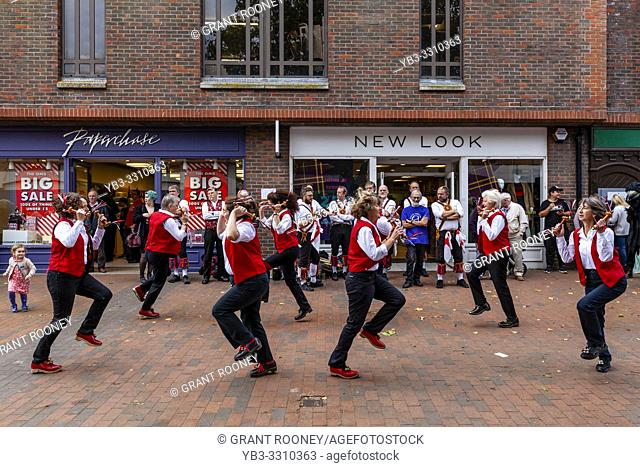 A Group of Female Morris Dancers Perform In The High Street During The Annual Lewes â. . Day of Danceâ. . , Lewes, Sussex, UK