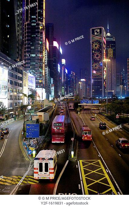 night traffic near Causeway Bay, Hong Kong