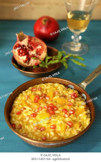 Pumpkin risotto with thyme and pomegranate