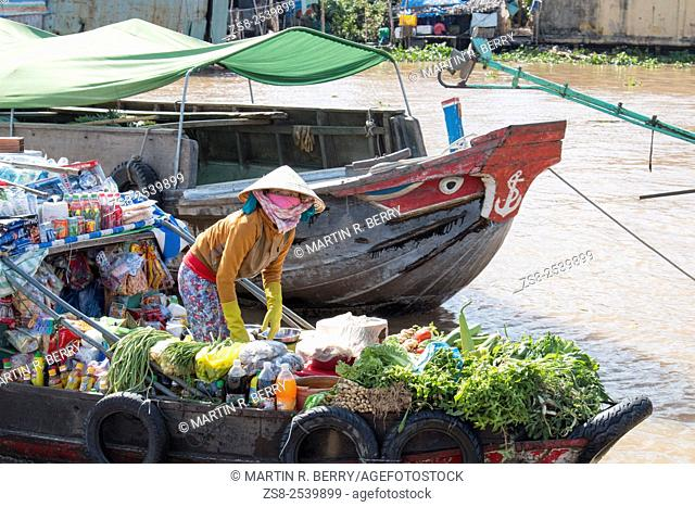 Cai Rang floating markets near Can Tho on the mekong river,Mekong Delta region,Vietnam,Asia