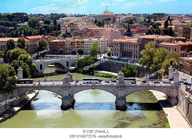 Panorama of Rome from Sant' Angelo Castel. Ponte Vittorio Emanuele II