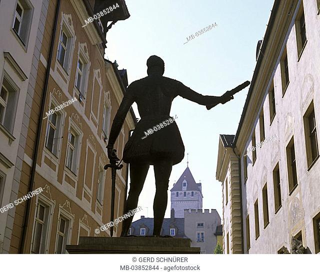 Germany, Bavaria, Regensburg, old part of town, Zieroldsplatz, statue, Don Juan d'Austria, back-opinion, waiter-palatinate, city, city-opinion, houses, monument