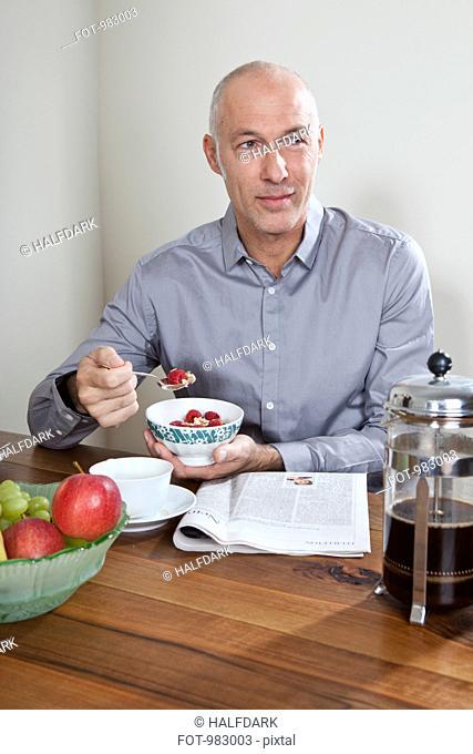A man having breakfast