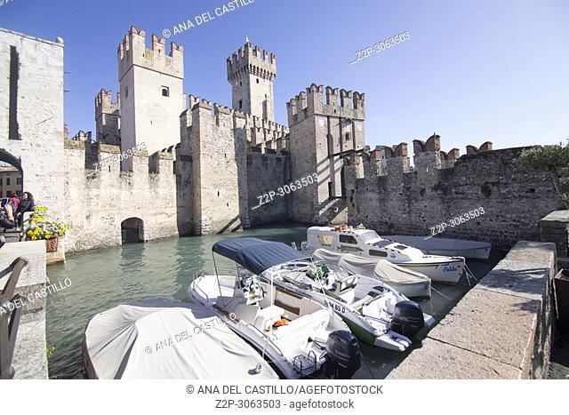 SIRMIONE ITALY: Roca scaligera the castle in Sirmione. Brescia. Lombardy. Italy