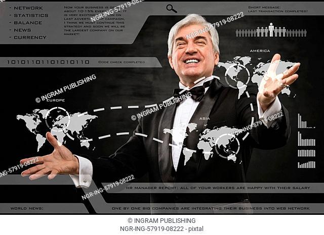 A businessman working on modern online technology on international market