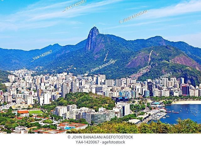 Guanabara Bay from Pao de Acucar, Sugarloaf Mountain, Flamengo beach, Centro, and Corcovado in background, Rio de Janeiro, Rio de Janeiro, Brazil