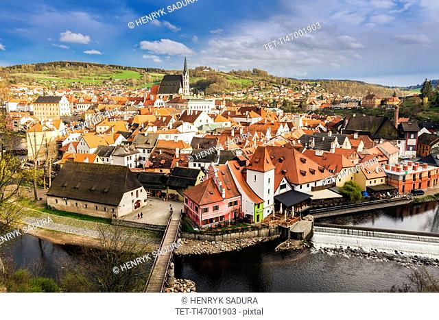 Czech Republic, South Bohemia, Cesky Krumlov, Scenic view of old town