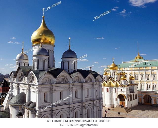 The Cathedral Square with the Archangel's Cathedral at the foreground  Kremlin, Moscow, Russia