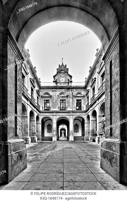 Framed view of a courtyard, University of Seville former Royal Tobacco Factory, Seville, Spain