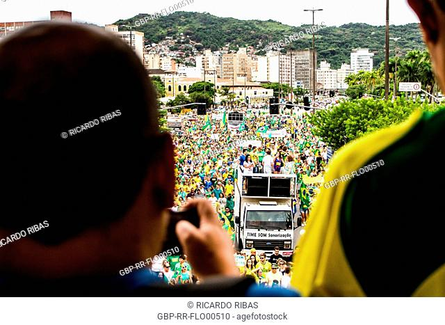 Manifestation for the impeachment of president Dilma Roussef on March 13th 2016. Florianopolis, Santa Catarina, Brazil