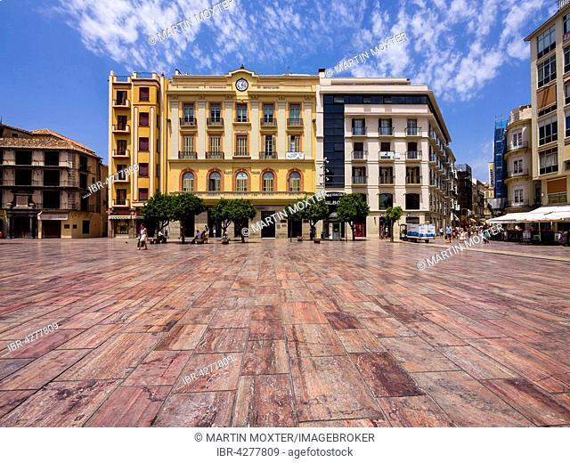 Plaza de la Constitución with marble flooring in the historic center of Malaga, Costa del Sol, Andalucía, Southern Spain, Spain
