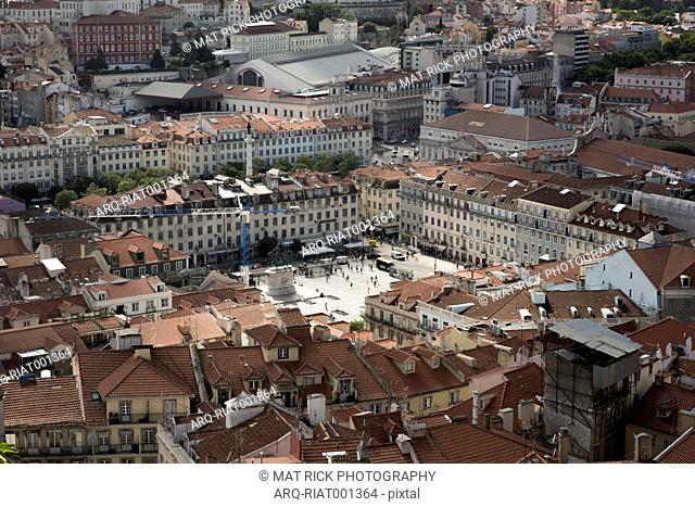 View Of A Pedro Iv Square From Above The Sao Jorge In Lisbon\, Portugal