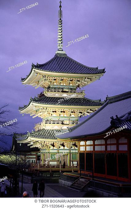 Japan, Kansai, Kyoto, Kiyomizu dera buddhist temple, pagoda