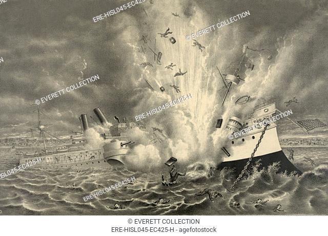 Destruction of the U.S. battleship Maine in Havana Harbor Feb. 15, 1898. (BSLOC-2017-10-13)