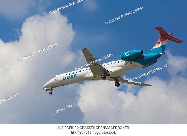 Aeroplane, cloudy sky, regional jet, Luxair Embraer ERJ-145