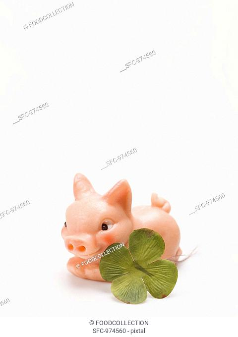 Marzipan pig and four-leaf clover