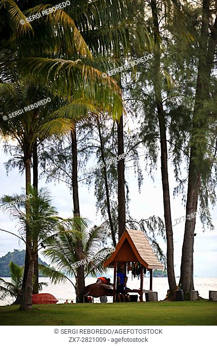 Kayak and water activities on the Changlang Beach. Anantara Si Kao Resort & Spa, south of Krabi, Thailand. Located on the soft white sands of Changlang Beach