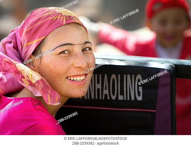 smiling Uyghur Woman, Opal Village Market, Xinjiang Uyghur Autonomous Region, China