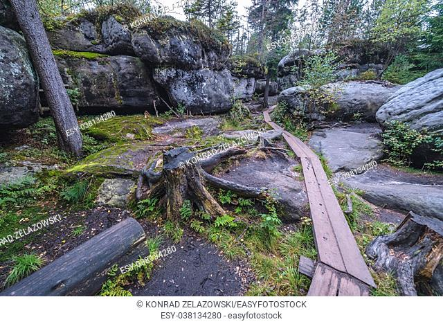 Path among rocks of Bledne Skaly (Errant Rocks) in Stolowe Mountains (Table Mountains) range, part of the Sudetes, Lower Silesia in Poland
