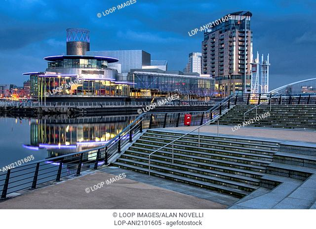 The Lowry Centre and Manchester Ship Canal at night