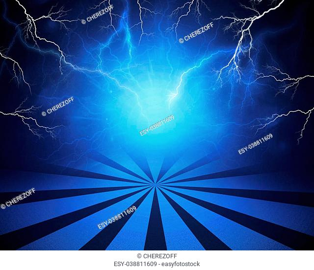 Abstract blue background with lightning and stripes at bottom. Set your object in center