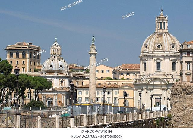 Imperial fora, church Santa Maria Di Loreto, church Santissimo Nome Di Maria, Trajan's Column, Rome, Lazio, Italy, Santissimo Nome di Maria al Foro Traiano