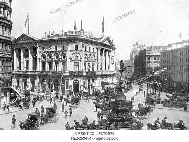 Piccadilly Circus, Westminster, London, c1910 (1911). Artist: Photochrom Co Ltd of London