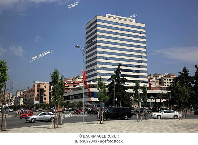 Skanderbeg Square and the Tirana Hotel, Tirana, Albania