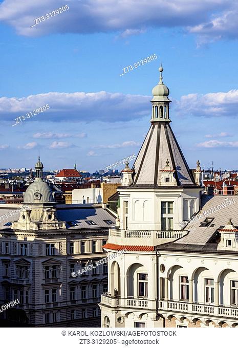 Architecture of the Nove Mesto, New Town, Jiraskovo Square, elevated view, Prague, Bohemia Region, Czech Republic