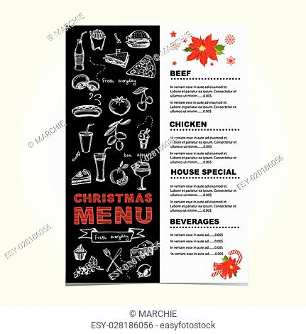 Christmas restaurant and party menu, invitation. Vector template with graphic