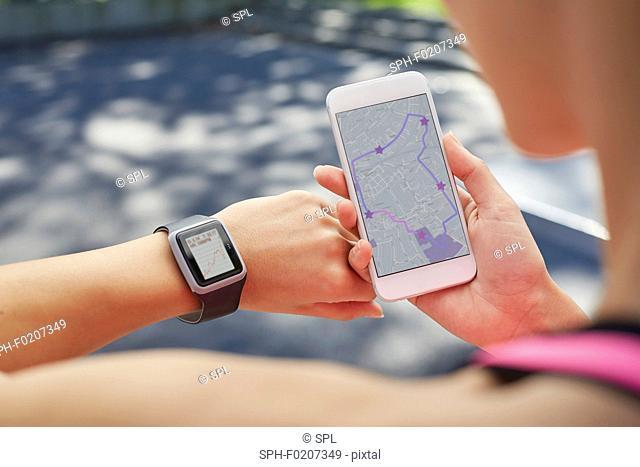 Woman wearing sports watch