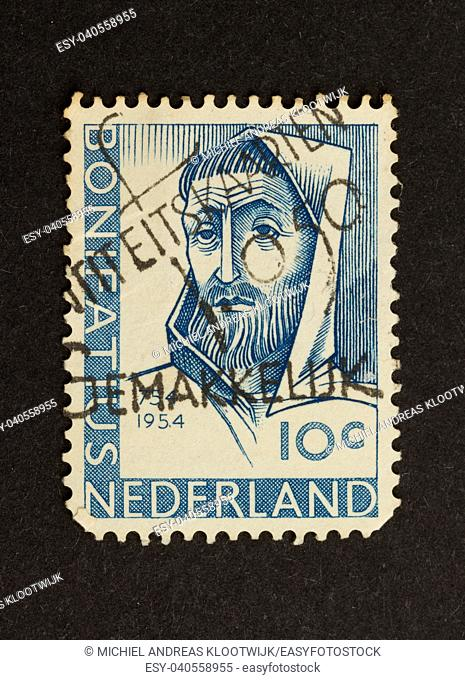 HOLLAND - CIRCA 1950: Stamp printed in the Netherlands shows the head of Bonifatius, circa 1950