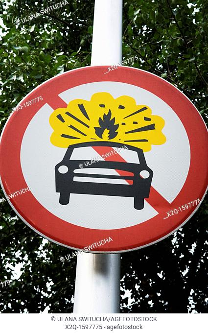 A street sign in Beijing China prohibiting propane fueled cars