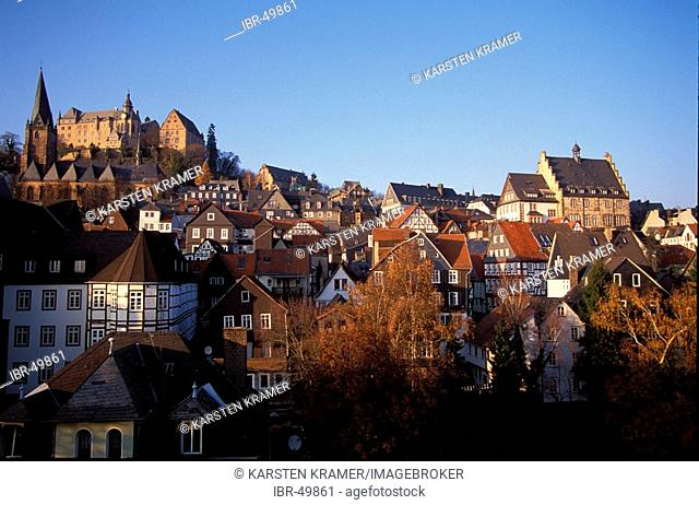 Marburg at the Lahn river, view of the pitoresque small town, left: the castle (todays use as university), right: the town hall