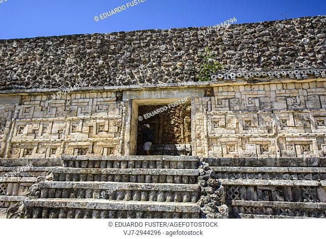 Structure in the top of a pyramid in Uxmal Archaeological Site, Yucatan Province, Mexico, Central America