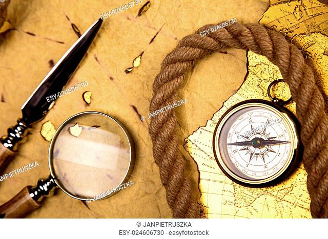 Old style compass, colorful bright journey theme