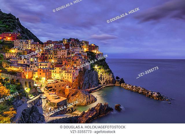 Blue Hour over Italian Riviera's Manarola Cinque Terre Italy World Location
