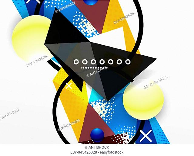 Vector color geometric abstract composition, triangular and polygonal design elements, digital techno background