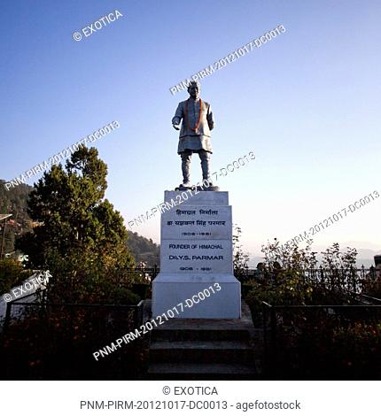 Low angle view of the statue of Dr. Y.S. Parmar, Shimla, Himachal Pradesh, India